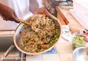 making salt fish fritters