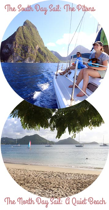 North and South Day Sails, St. Lucia: Pitons and Beach