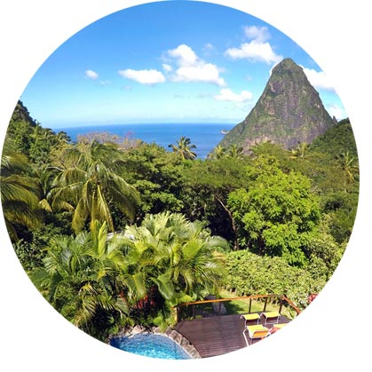 Pitons View from Pool