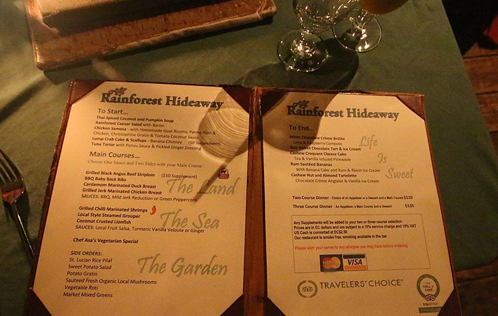 rainforest hideaway restaurant menu st lucia