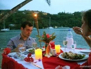 St Lucia's Marigot Bay; Dinner on the Beach