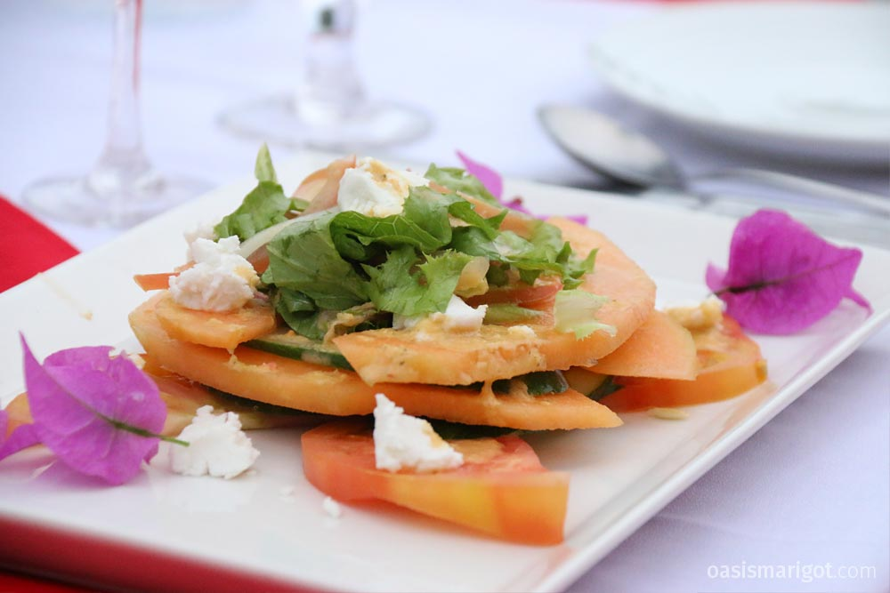 Papaya Goat Cheese Appetizer